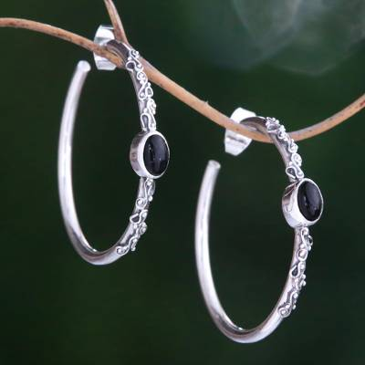 Onyx half-hoop earrings, 'Bali Memories' - Onyx Half-Hoop Earrings from Bali