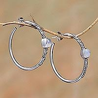 Rainbow moonstone half-hoop earrings,