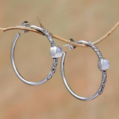 Rainbow moonstone half-hoop earrings, 'Bali Memories' - Rainbow Moonstone Half-Hoop Earrings Crafted in Bali