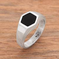 Onyx signet ring, 'Simple Hex' - Hexagon Onyx Signet Ring Crafted in Bali