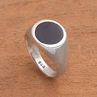 Onyx signet ring, 'Graceful Gerhana' - Circular Black Onyx Signet Ring from Bali