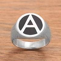 Onyx signet ring, 'Dark A' - 'A' Motif Onyx Signet Ring Crafted in Bali