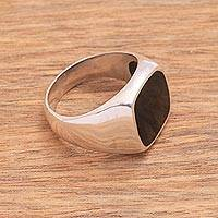 Onyx signet ring, 'Shadowy Window' - Black Onyx and Sterling Silver Signet Ring from Bali