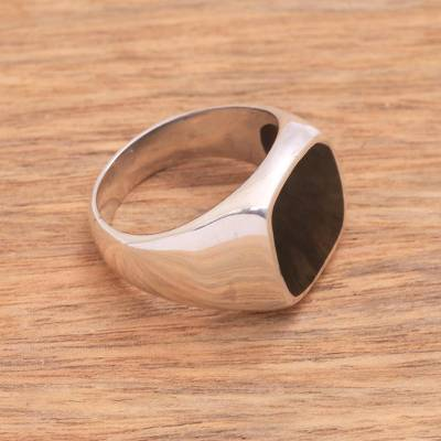 Sterling silver and resin signet ring, 'Shadowy Window' - Black Resin and Sterling Silver Signet Ring from Bali