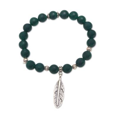 Agate Feather Beaded Stretch Bracelet from Bali