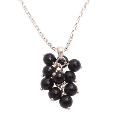 Black Onyx Cluster Pendant Necklace from Bali