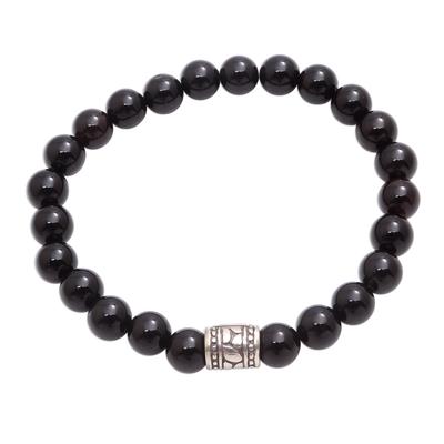 Black Onyx Beaded Stretch Bracelet from Bali
