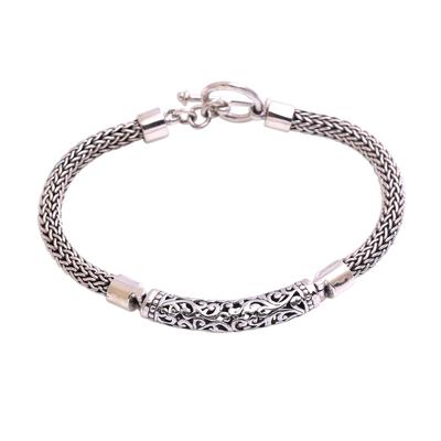 Sterling Silver Spiral Motif Pendant Bracelet from Bali