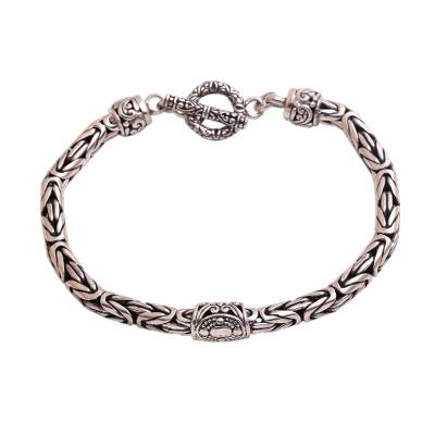 Artisan Crafted Sterling Silver Pendant Bracelet from Bali