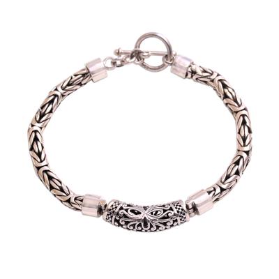 Sterling Silver Swirl Motif Pendant Bracelet from Bali