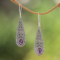Amethyst dangle earrings, 'Sparkling Journey' - Sparkling Amethyst Dangle Earrings from Bali
