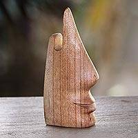 Wood eyeglasses holder, 'Nosing Around' - Whimsical Brown Hand Carved Wood Face Eyeglasses Holder
