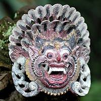 Wood mask, 'Boma of the Forest' - Handmade Indonesian Cultural Wood Mask