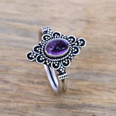 Amethyst cocktail ring, 'Daydream Temple' - Handcrafted Amethyst Cocktail Ring from Bali
