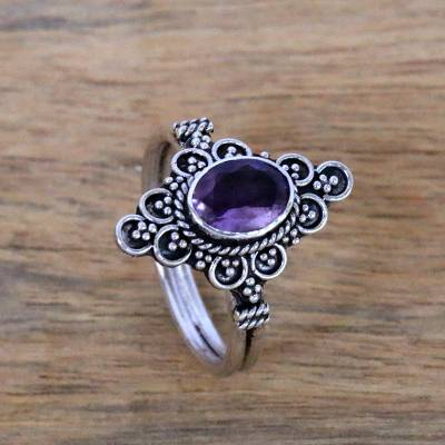 Amethyst cocktail ring, 'Sparkling Daydream Temple' - Handcrafted Faceted Amethyst Cocktail Ring from Bali