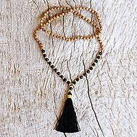 Gold accented onyx and wood beaded mala necklace, 'Batuan Harmony' - 18k Gold Accented Onyx Beaded Mala Necklace from Bali