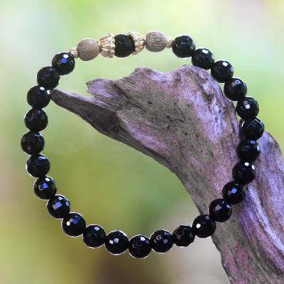Onyx beaded stretch bracelet, 'Batuan Tune' - Onyx and Gold Plated Sterling Silver Beaded Stretch Bracelet