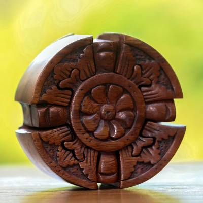 Wood puzzle box, 'Floral Secret' - Floral Wood Puzzle Box Crafted in Bali