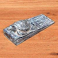 Wood door stopper, 'Whitewashed Baby Turtle' - Whitewashed Baby Turtle Suar Wood Door Stopper from Bali