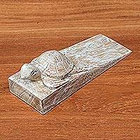 Wood door stopper, 'Distressed Baby Turtle' - Distressed Baby Turtle Suar Wood Door Stopper from Bali