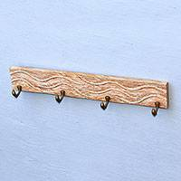 Wood coat or key rack, 'Dolphin Beach' - Whitewashed Wood Coat or Key Rack with Dolphin Hooks
