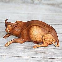 Wood sculpture, 'Resting Buffalo' - Suar Wood Buffalo Sculpture Hand-Carved in Bali