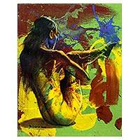 """By Balinese artist Aricadia, this painting depicts the nude form of a woman from behind as she stretches her leg. Aricadia employs an expressionist style, accentuating the composition with hues of yellow, green, red, and blue. Says the artist, """"Once you've earned 'A good name' for yourself, it is extremely hard to maintain it, as a small mistake you make will leave a scratch on the perfection you once have made."""""""