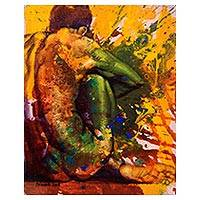 'Your Reflection' - Signed Artistic Nude Painting of a Woman from Bali