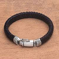 Leather braided wristband bracelet, 'Twining in Black' - Braided Black Leather and Sterling Silver Wristband Bracelet