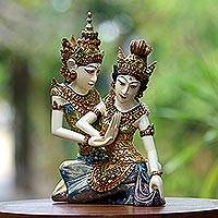 Wood sculpture, 'Rama Sita Dance' - Rama and Sita Handcrafted Wood Statuette from Bali