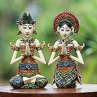 Wood sculptures, 'Balinese Bride and Groom' (pair) - Balinese Bride and Groom Handcrafted Wood Sculptures (Pair)