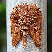 Wood mask, 'Rangda' - Bali Evil Queen Rangda Hand Carved Wood Decorative Wall Mask