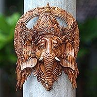 Wood mask, 'Natural Ganesha' - Lord Ganesha Hand Carved Wood Decorative Wall Mask from Bali