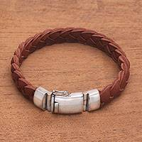 Men's leather braided wristband bracelet, 'Braided Brawn' - Men Braided Brown Leather Sterling Silver Wristband Bracelet