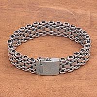 Mens sterling silver link bracelet Celuk Power (Indonesia)