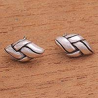 Sterling silver button earrings, 'Sophisticated Knot' - Handcrafted Sterling Silver Braid Motif Button Earrings