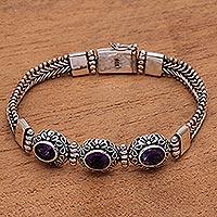 Amethyst pendant bracelet, 'Fascinating Petals' (Indonesia)