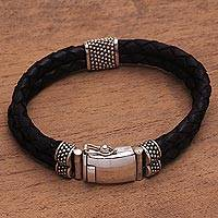 Men's leather braided wristband bracelet, 'Midnight Luxe' - Silver and Braided Brown Leather Men's Wristband Bracelet