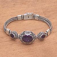 Amethyst link pendant bracelet,