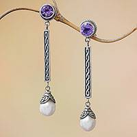 Cultured pearl and amethyst dangle earrings, 'Mermaid Melody' - Amethyst and Cultured Pearl Elongated Dangle Earrings