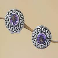 Amethyst button earrings, 'Deep Allure' - Sterling Silver Faceted Amethyst Button Earrings  from Bali