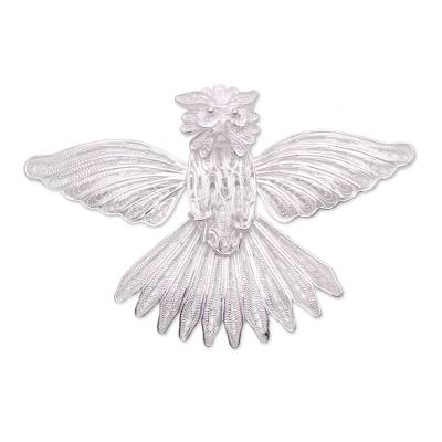 Handcrafted Sterling Silver Garuda Filigree Bird Brooch