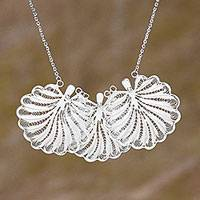 Sterling silver filigree necklace, 'Shining Shells' - Sterling Silver Filigree Seashell Pendant Necklace