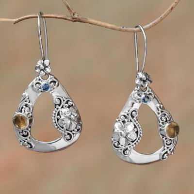 Citrine and blue topaz dangle earrings, 'Evening Jepun' - Floral Citrine and Blue Topaz Dangle Earrings from Bali