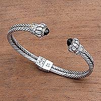 Gold accented onyx cuff bracelet,