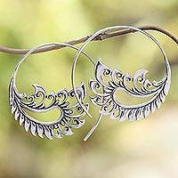 Sterling silver half-hoop earrings, 'Paisley Fantasy' - Sterling Silver Paisley Half-Hoop Earrings from Bali