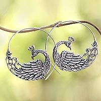 Sterling silver half-hoop earrings, 'Peacock Swirl' - Sterling Silver Peacock Half-Hoop Earrings from Bali