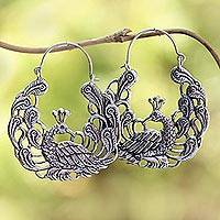 Sterling silver hoop earrings, 'Peacock Garden' - Sterling Silver Peacock Hoop Earrings from Bali