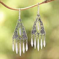 Sterling silver chandelier earrings, 'Divine Dangle' - Triangular Sterling Silver Chandelier Earrings from Bali