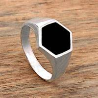 Sterling silver signet ring, 'Bold Hex' - Sterling Silver and Black Resin Hexagonal Signet Ring